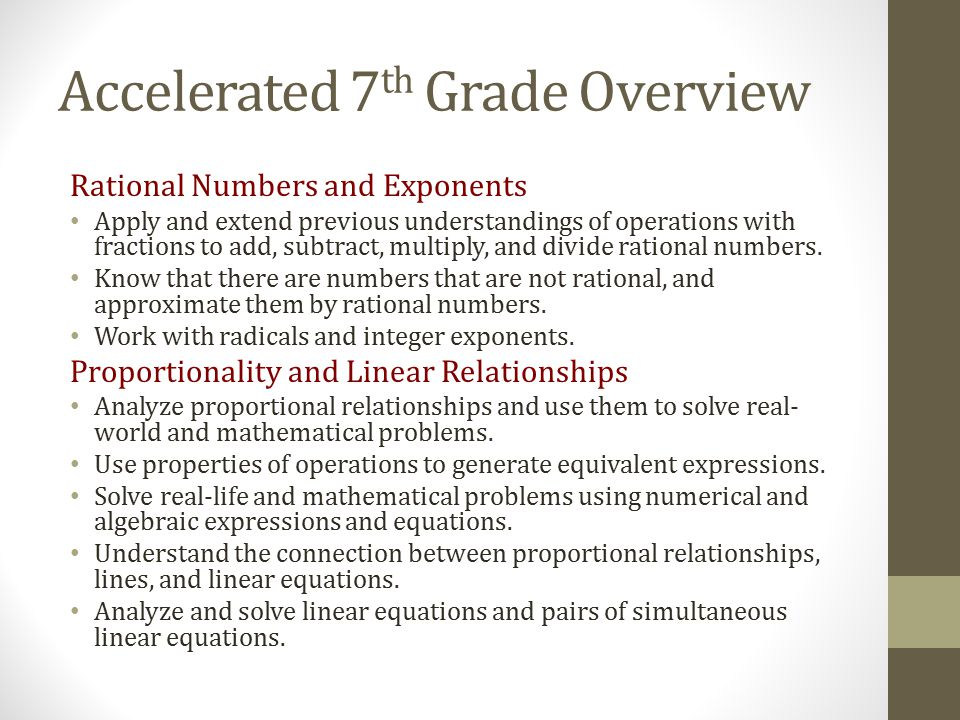 Accelerated 7th Grade Overview