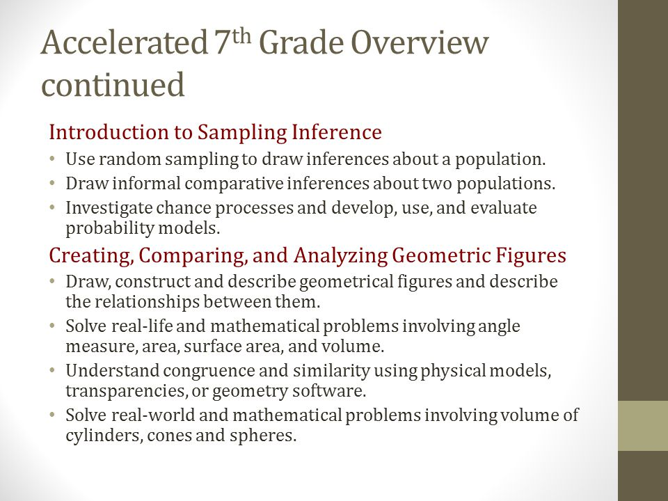 Accelerated 7th Grade Overview continued
