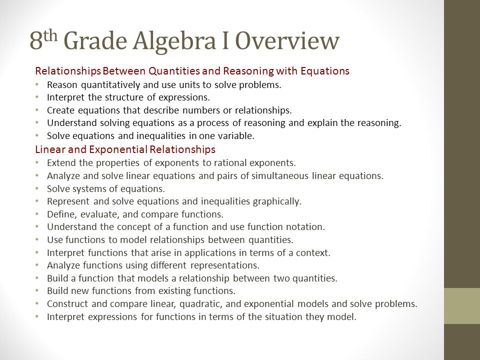 8th Grade Algebra I Overview