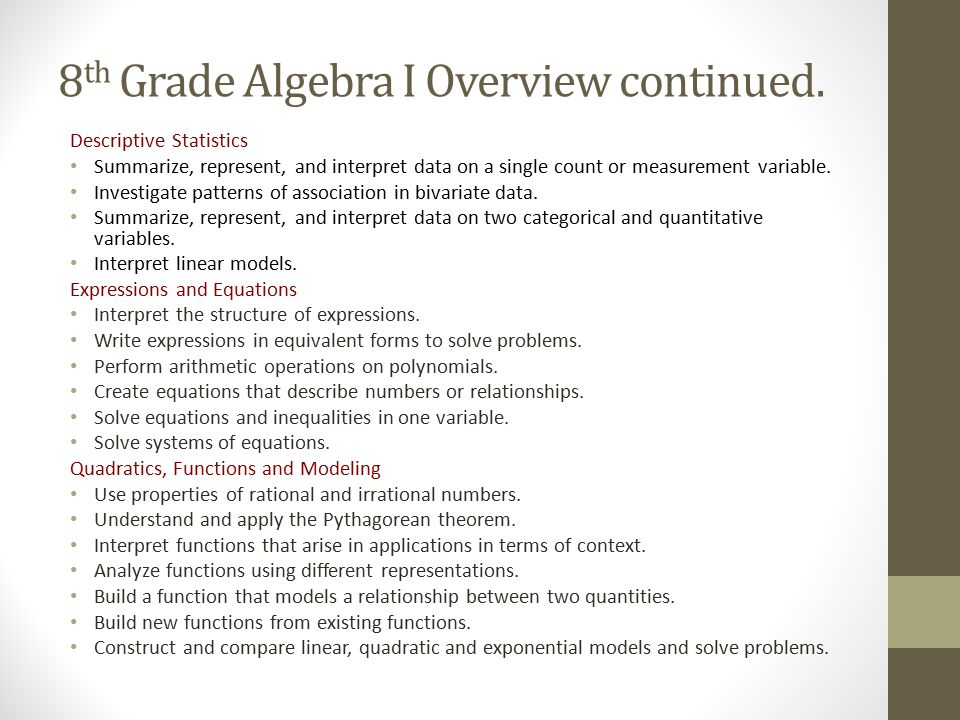 8th Grade Algebra I Overview continued.