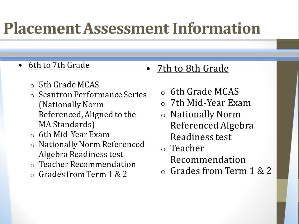 Placement Assessment Information