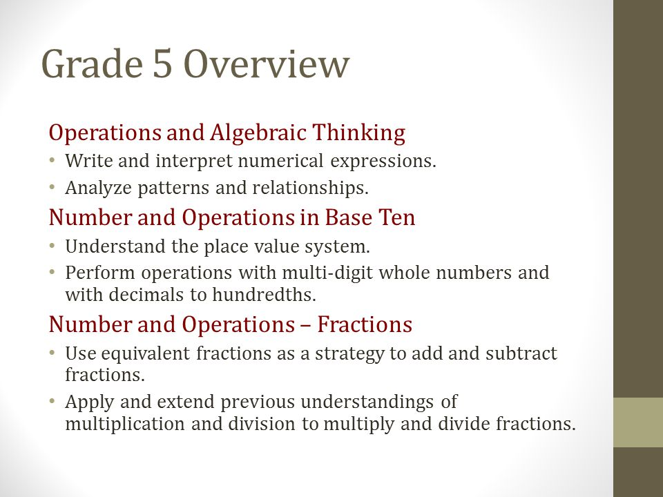 Grade 5 Overview Operations and Algebraic Thinking