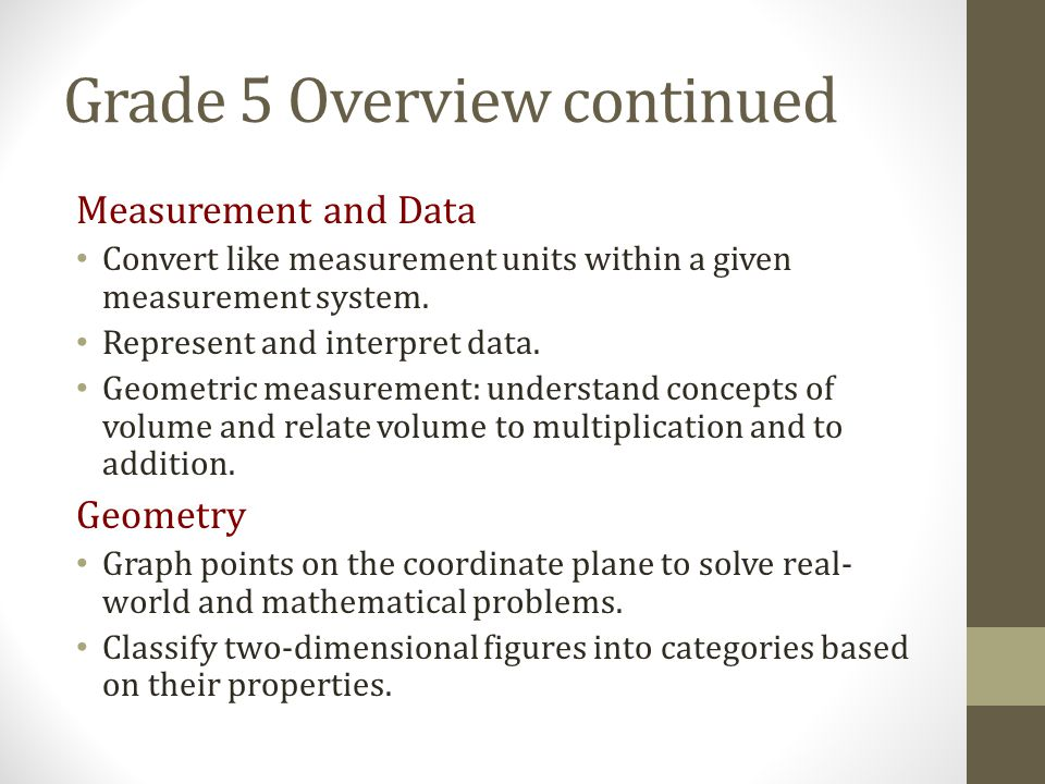 Grade 5 Overview continued
