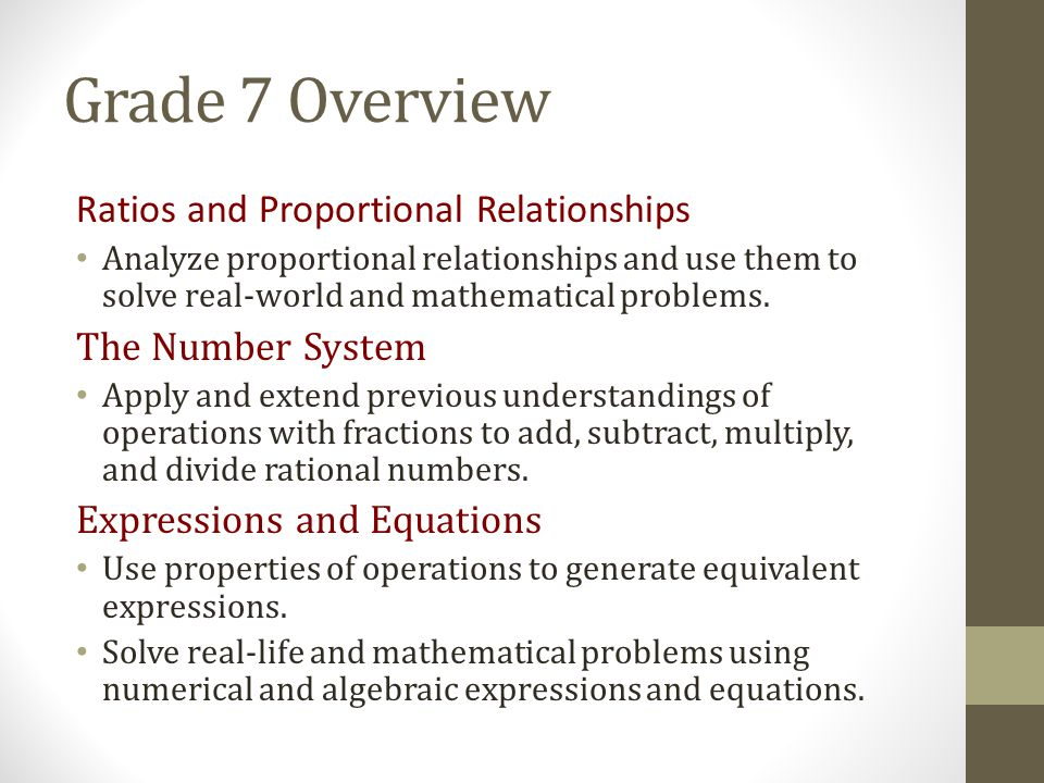 Grade 7 Overview Ratios and Proportional Relationships