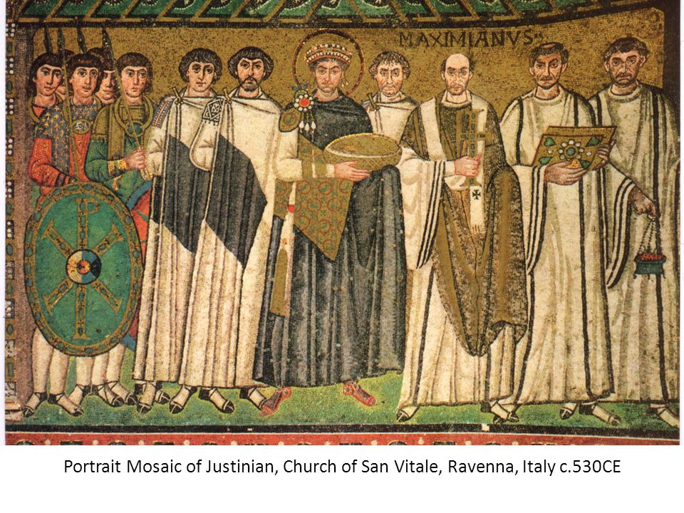 Portrait Mosaic of Justinian, Church of San Vitale, Ravenna, Italy c
