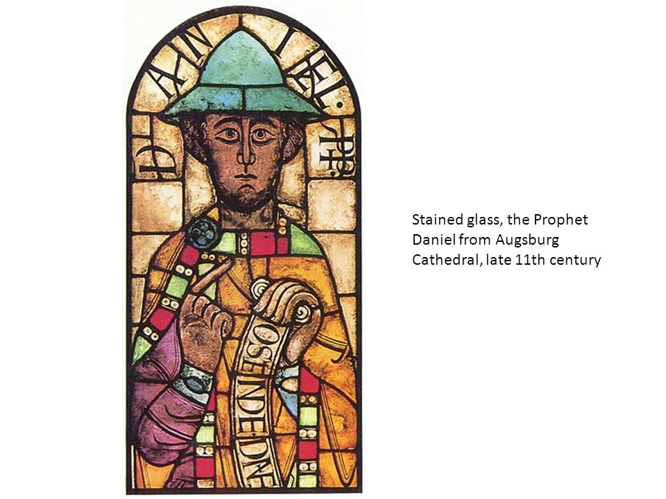 Stained glass, the Prophet Daniel from Augsburg Cathedral, late 11th century