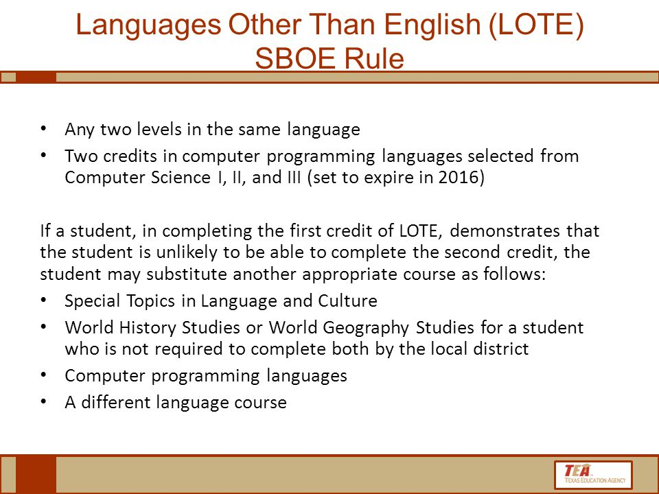 Languages Other Than English (LOTE) SBOE Rule