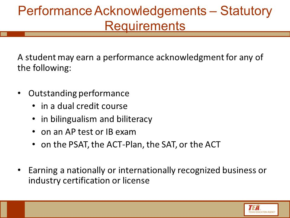 Performance Acknowledgements – Statutory Requirements