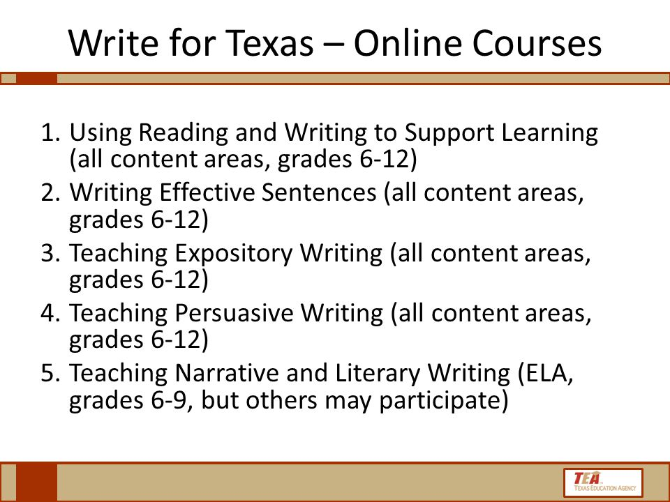 Write for Texas – Online Courses