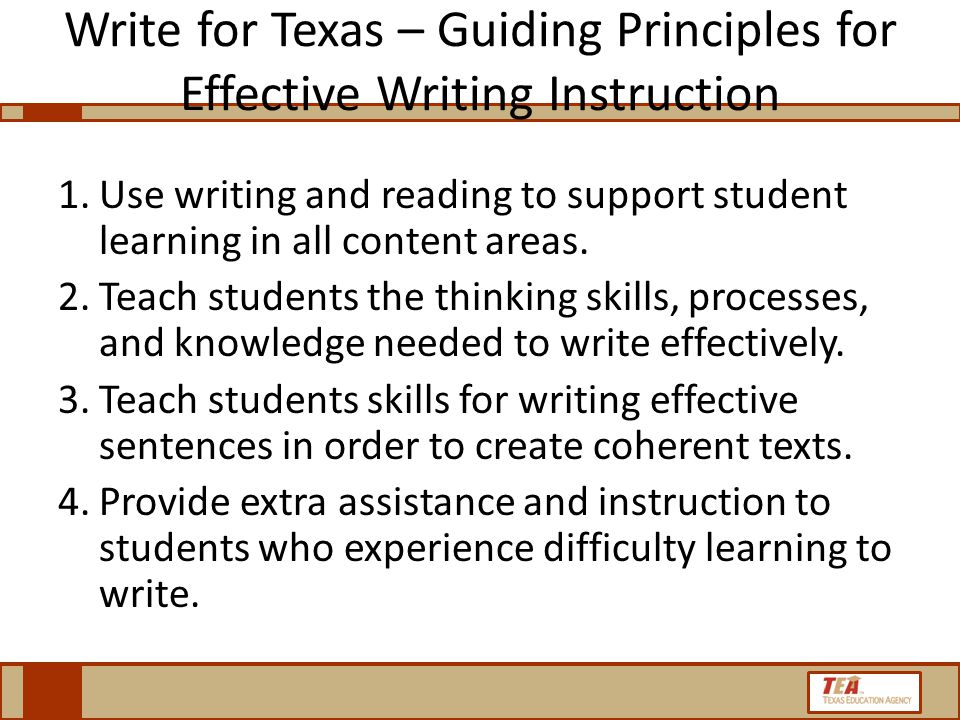 Write for Texas – Guiding Principles for Effective Writing Instruction