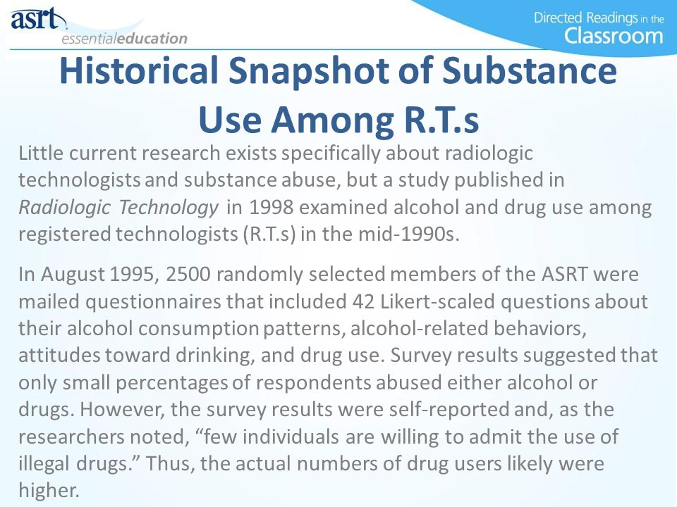Historical Snapshot of Substance Use Among R.T.s