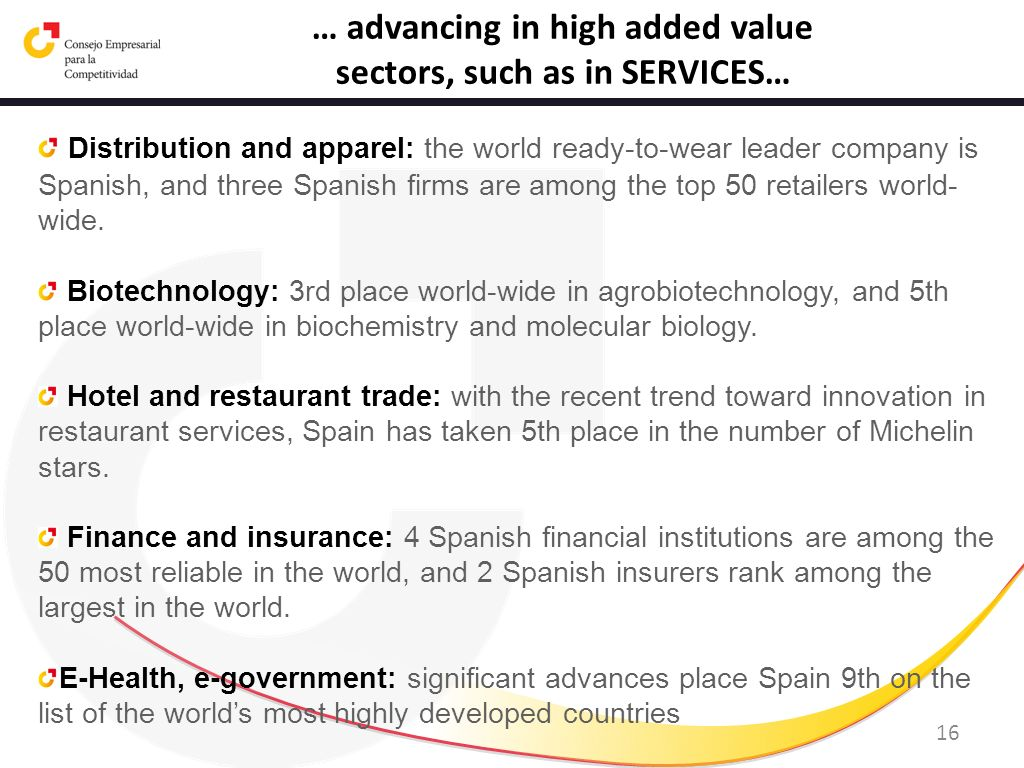 … advancing in high added value sectors, such as in SERVICES…