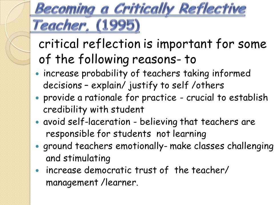 Becoming a Critically Reflective Teacher, (1995)