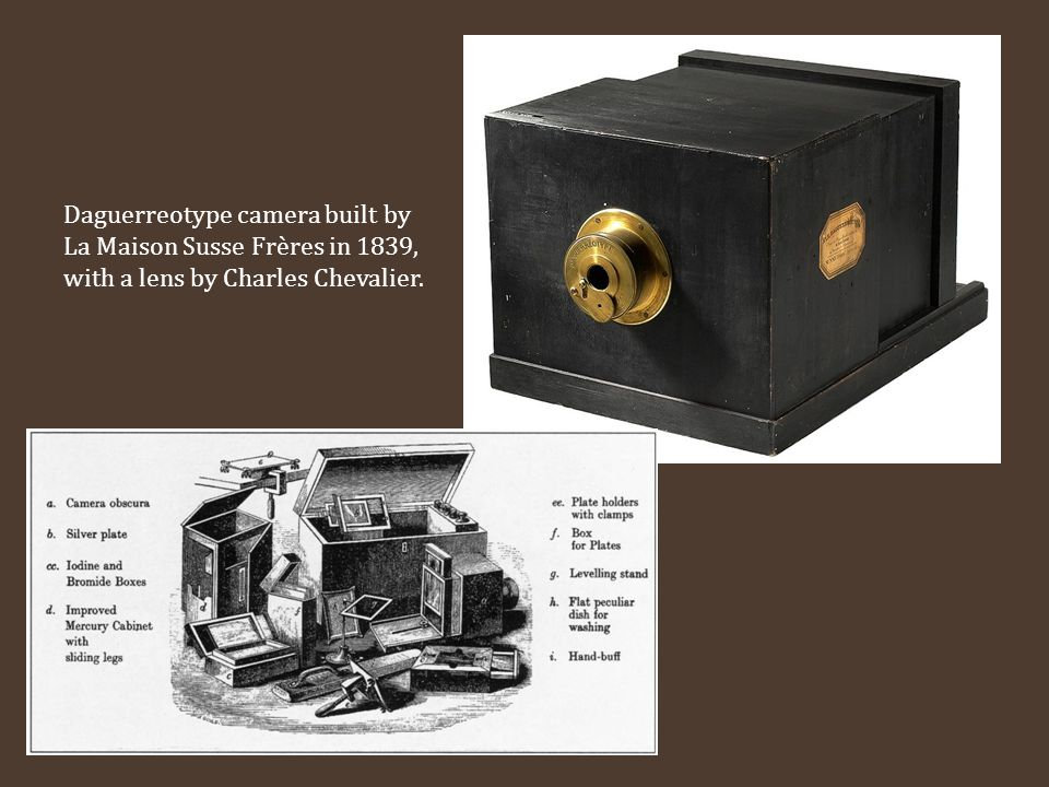 Daguerreotype camera built by La Maison Susse Frères in 1839, with a lens by Charles Chevalier.