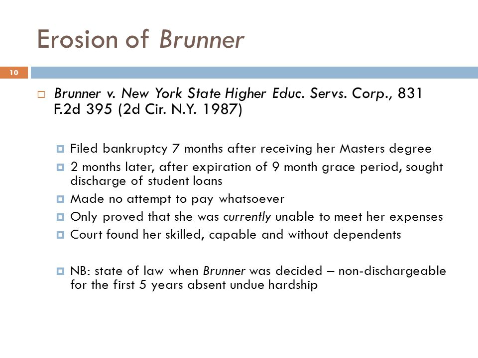 Erosion of Brunner Brunner v. New York State Higher Educ. Servs. Corp., 831 F.2d 395 (2d Cir. N.Y. 1987)