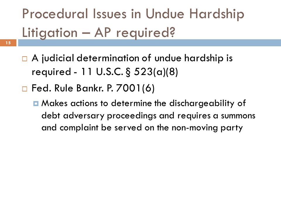 Procedural Issues in Undue Hardship Litigation – AP required
