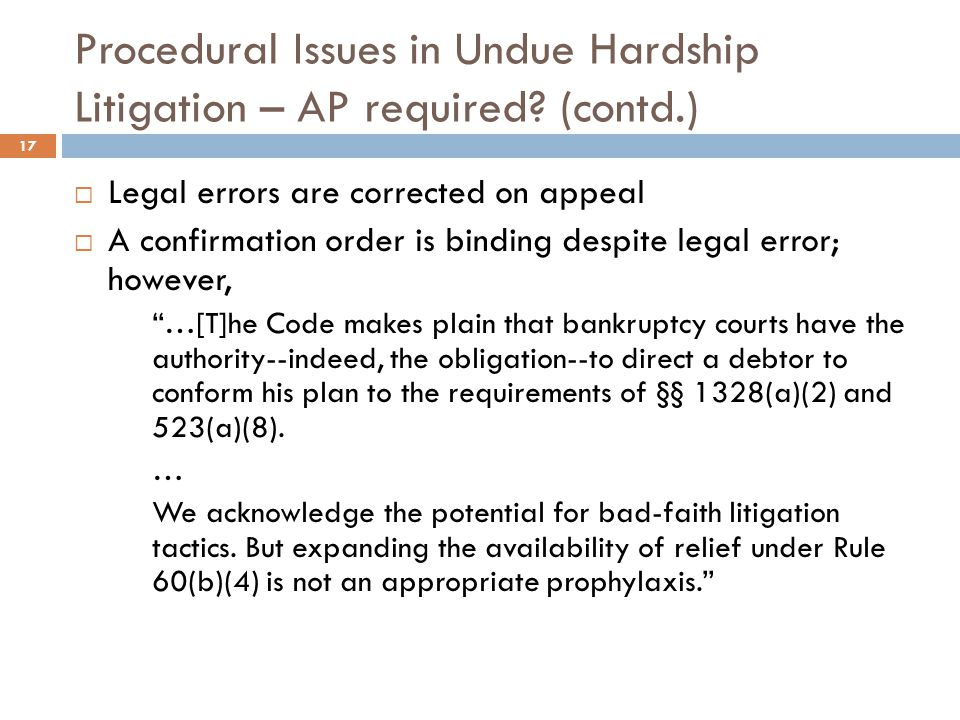 Procedural Issues in Undue Hardship Litigation – AP required (contd.)