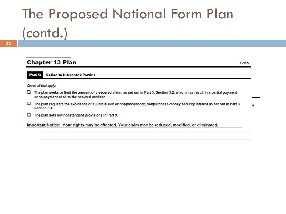 The Proposed National Form Plan (contd.)