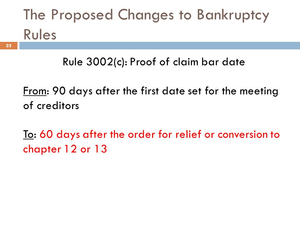 The Proposed Changes to Bankruptcy Rules