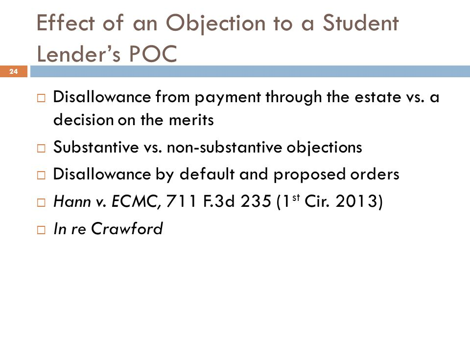Effect of an Objection to a Student Lender's POC