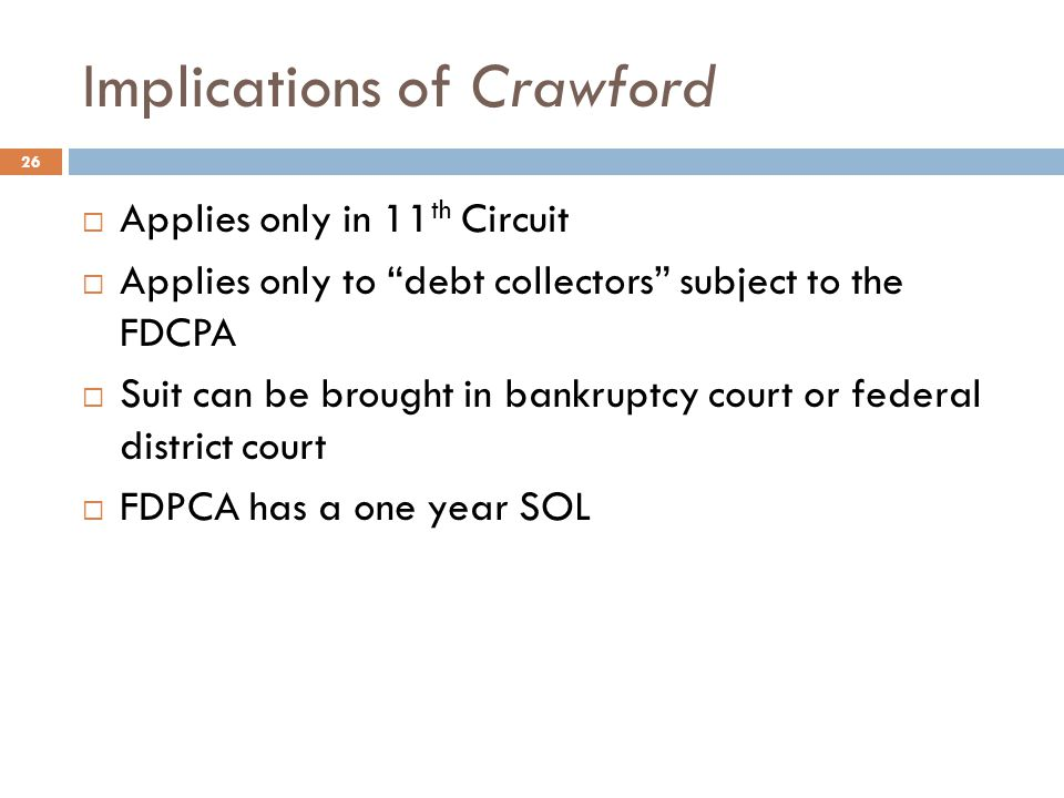 Implications of Crawford