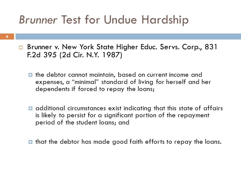 Brunner Test for Undue Hardship