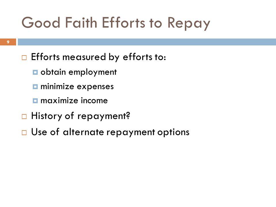 Good Faith Efforts to Repay