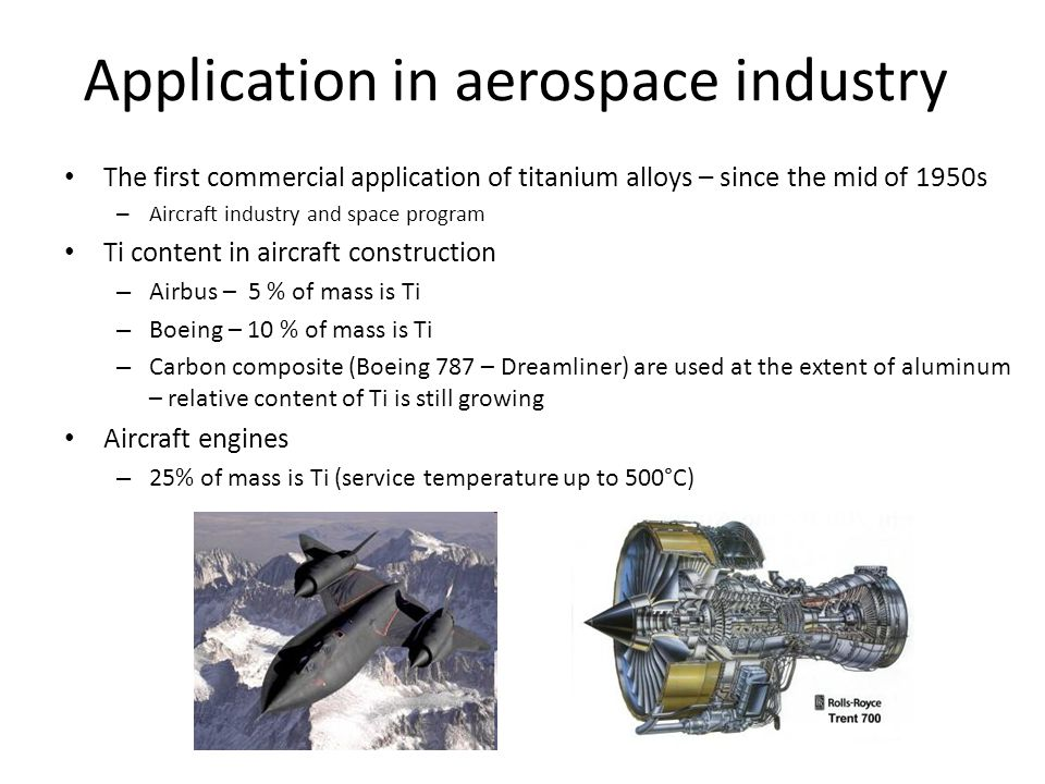 Application in aerospace industry