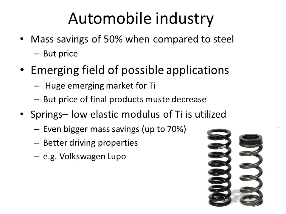 Automobile industry Emerging field of possible applications