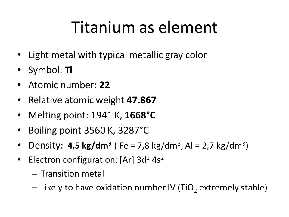 Titanium as element Light metal with typical metallic gray color