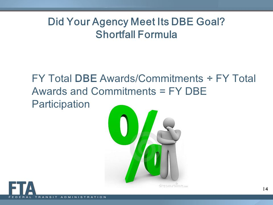 Did Your Agency Meet Its DBE Goal Shortfall Formula