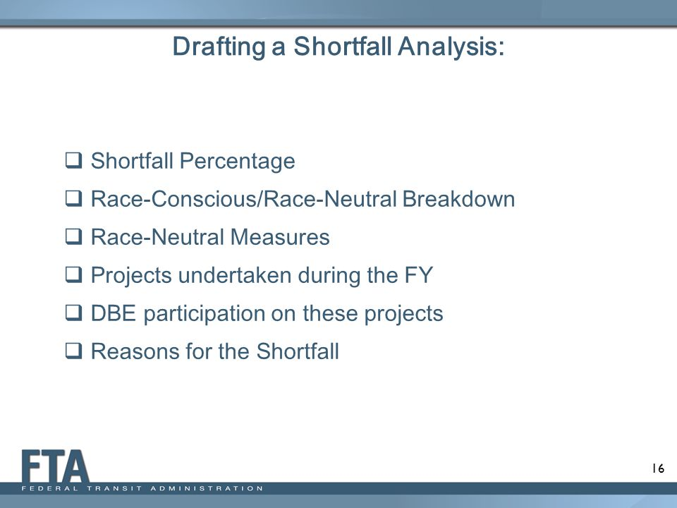 Drafting a Shortfall Analysis: