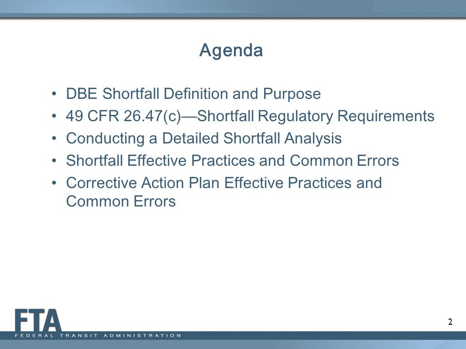 Agenda DBE Shortfall Definition and Purpose