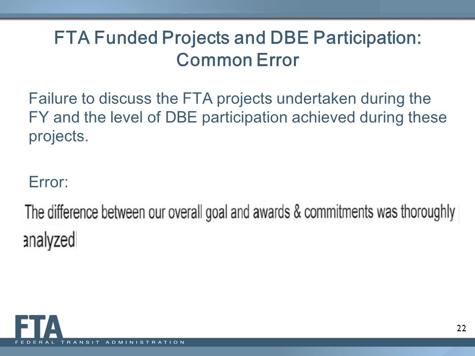 FTA Funded Projects and DBE Participation: Common Error