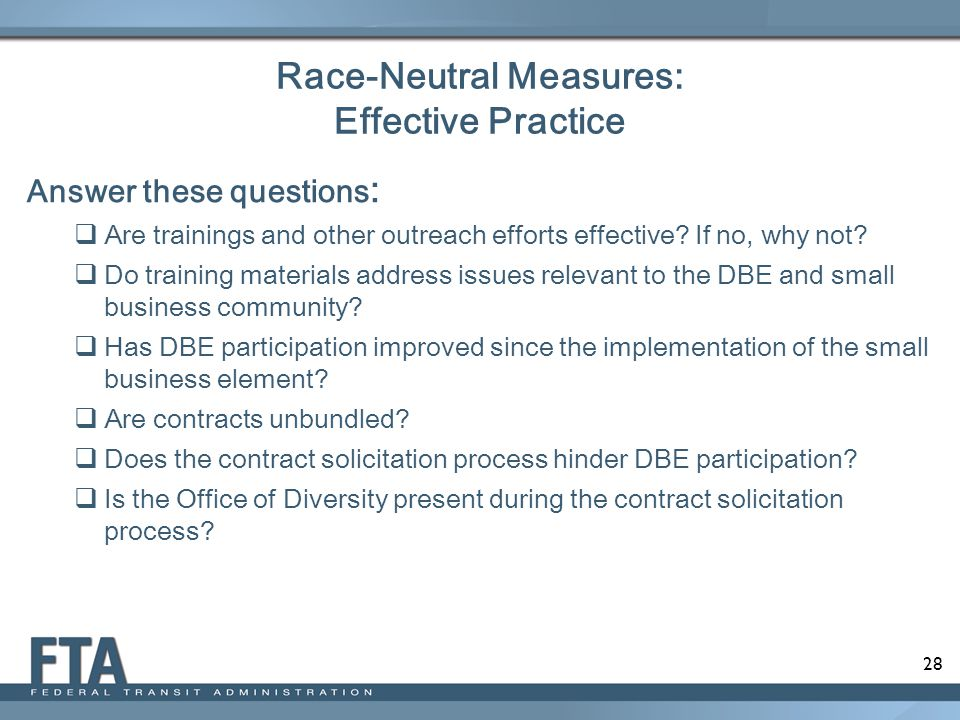 Race-Neutral Measures: Effective Practice