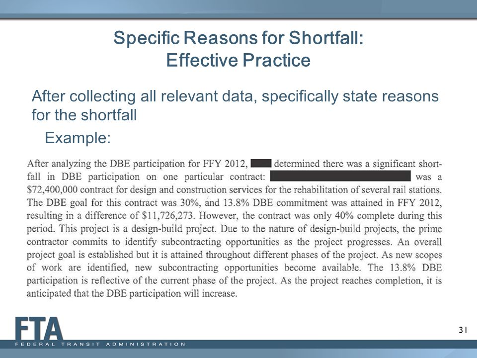 Specific Reasons for Shortfall: Effective Practice