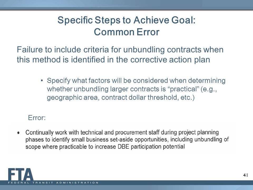 Specific Steps to Achieve Goal: Common Error