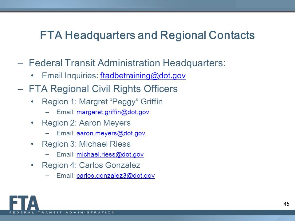FTA Headquarters and Regional Contacts