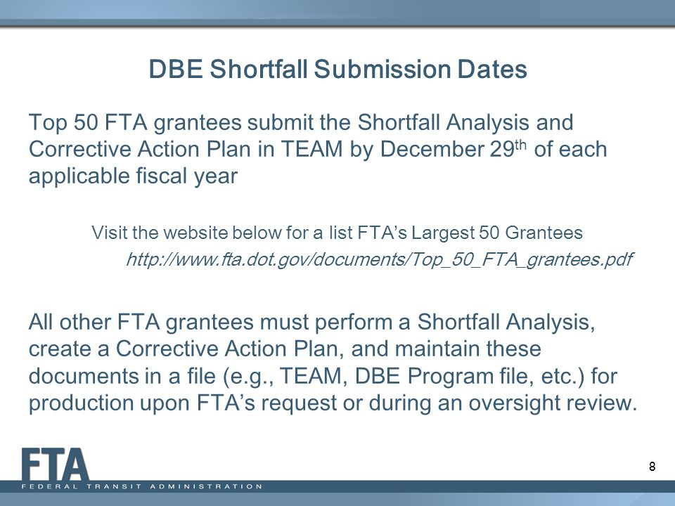 DBE Shortfall Submission Dates