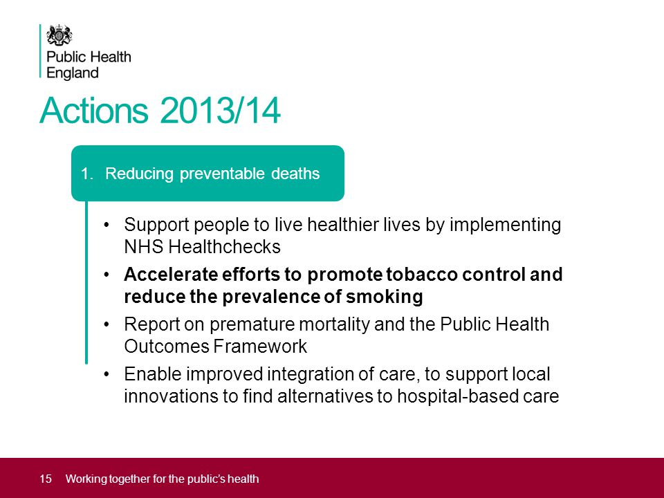 Actions 2013/14 Reducing preventable deaths. Support people to live healthier lives by implementing NHS Healthchecks.
