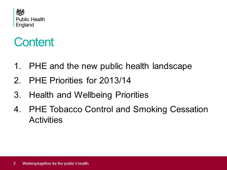Content PHE and the new public health landscape