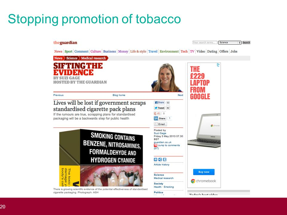 Stopping promotion of tobacco