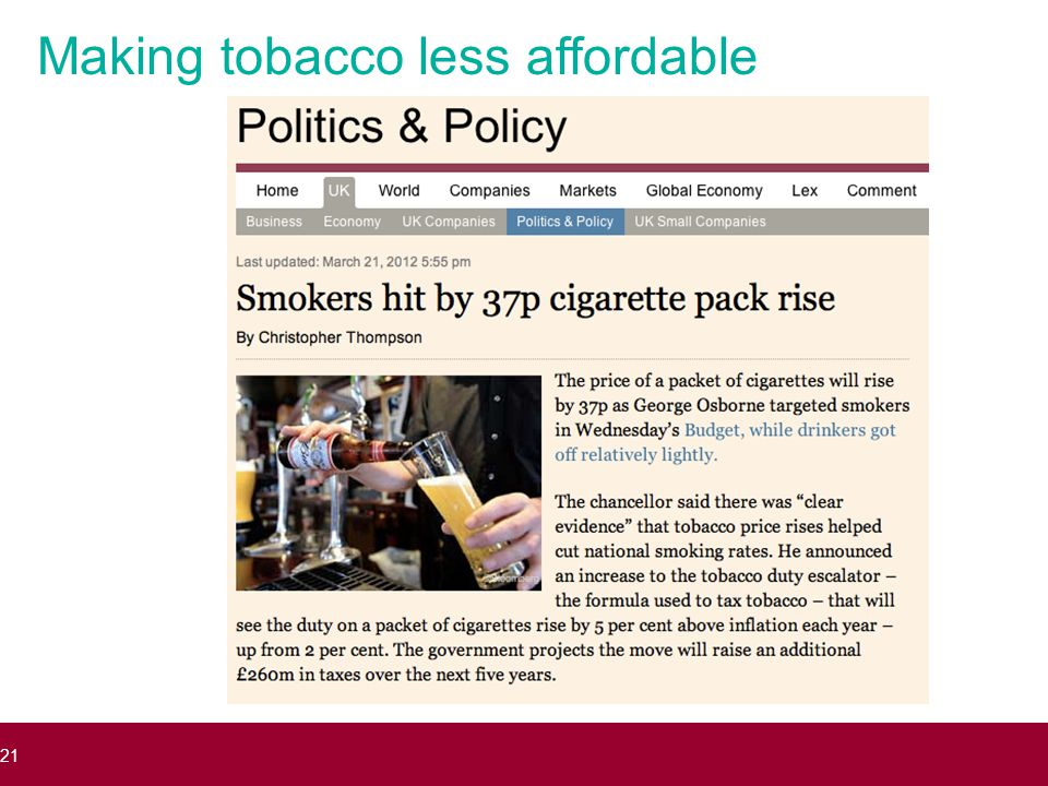 Making tobacco less affordable