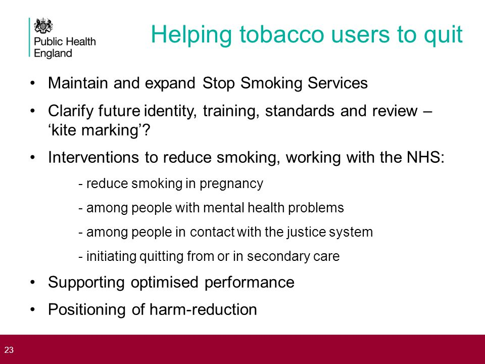 Helping tobacco users to quit