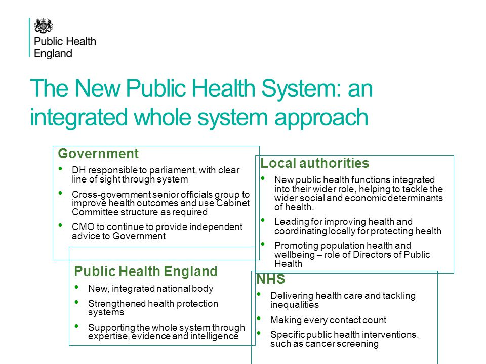 The New Public Health System: an integrated whole system approach