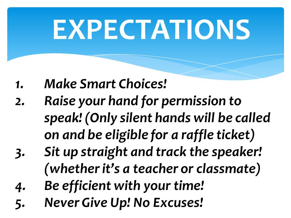 EXPECTATIONS Make Smart Choices!