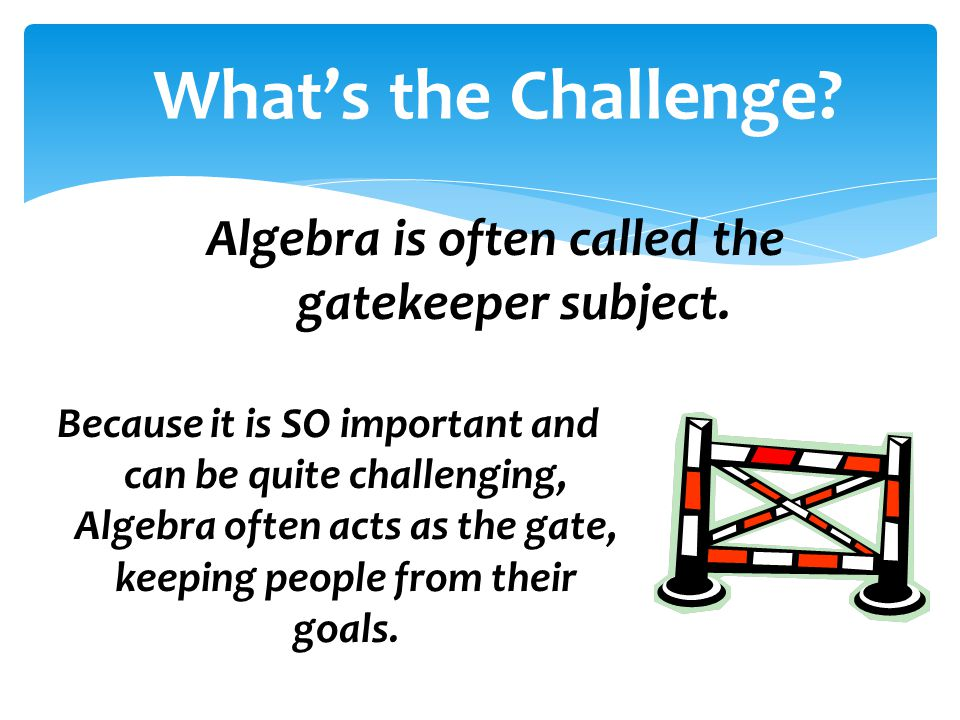 Algebra is often called the gatekeeper subject.