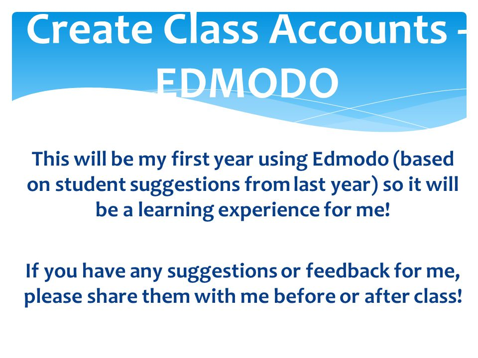 Create Class Accounts - EDMODO