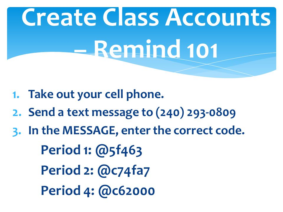 Create Class Accounts – Remind 101