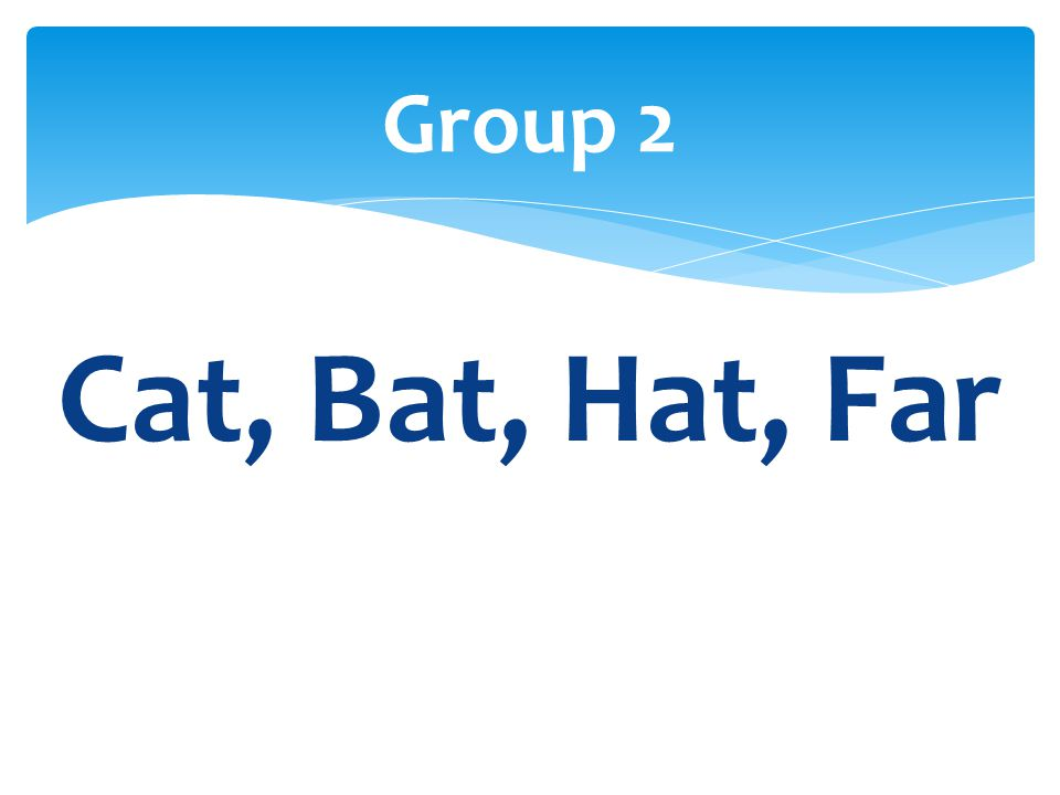 Group 2 Cat, Bat, Hat, Far
